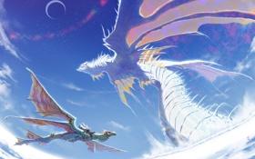 Обои фентези, крылья, драконы, аниме, всадник, полёт