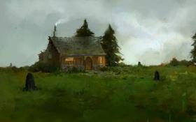Обои дом, ёлки, нарисованный пейзаж