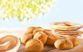 Картинка стол, еда, хлеб, выпечка, салфетка, булочки