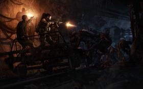 Обои погоня, туннель, монстры, metro 2033, подземка, дрезина
