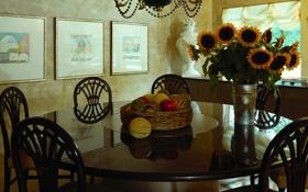 Обои подсолнухи, стол, мебель, стулья, окно, картины, овощи