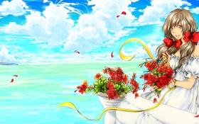Обои море, взгляд, девушка, цветы, улыбка, art, хеталия и страны оси