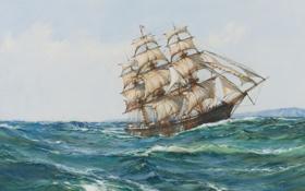 Обои море, парусник, паруса, Montague Dawson