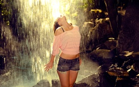 Картинка вода, водопад, мокрая
