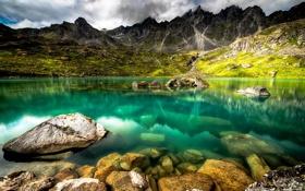 Картинка пейзаж, скалы, природа, горы, вода, озеро