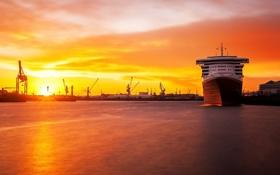 Картинка пейзаж, закат, корабль, порт