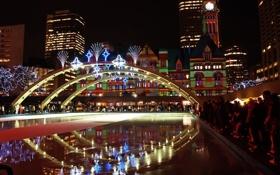 Обои ночь, яркий, мост, город, здания