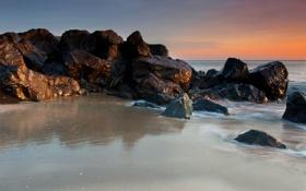 Обои песок, море, вода, природа, скала, камни, океан