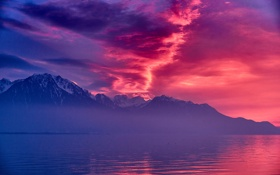Обои Pink, Clouds, Switzerland, Sunset, Lake, Montreux, Geneva
