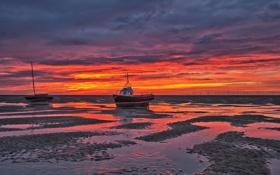 Картинка море, закат, лодки, мель