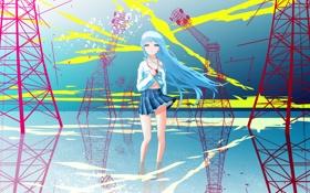 Обои вода, девушка, отражение, аниме, арт, touwa erio, denpa onna to seishun otoko
