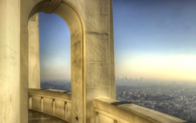 Обои небо, здание, hdr, панорама, дымка, балкон, США