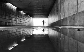 Обои свет, отражение, зеркало, лужа, бег, мужчина, выход