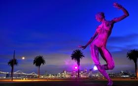 Обои скульптура, пейзаж, небо, дома, Сан-Франциско, мост, огни