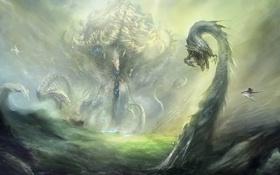 Обои драконы, арт, монстры, всадник, червь