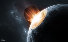 Обои огонь, планета, катастрофа, астероид, ударная волна, гибель, impact