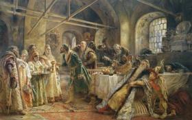 Обои картина, живопись, старинный, русский, обряд, гостей, К. Е. Маковский