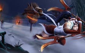 Картинка Akali, бег, девушка, злость, тренировка, art, league of legends