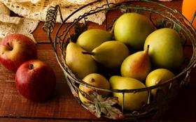 Картинка стол, корзина, яблоки, фрукты, груши