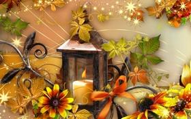 Обои осень, цветы, настроение, коллаж, свеча, фонарь