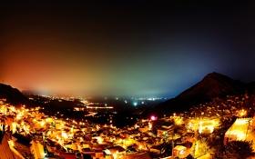 Обои холмы, город, ночь, дома, огни