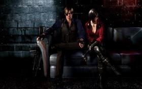 Обои пистолет, оружие, диван, автомат, fanart, Resident Evil 6, Leon Scott Kennedy