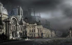 Картинка мрачно, машины, небо, разрушение, арт, здание, улица