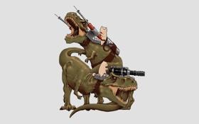 Обои кот, динозавр, пушка