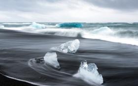 Картинка море, волны, лёд