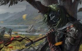 Обои камни, люди, дерево, ветер, меч, арт, труп