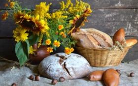 Картинка подсолнухи, хлеб, орехи, натюрморт, фундук, пирожки, бархатцы
