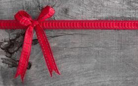 Обои доски, бант, красная, ленточка