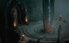 Картинка огни, столб, храм