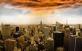 Обои город, небоскребы, Manhattan, New York City, Rockefeller Center, панорамма