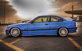 Картинка BMW, E36, 3 series, oldschool, Дорога, blue, Stance
