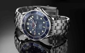 Обои часы, Omega, отражение, тень