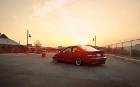 Обои закат, red, Honda, красная, хонда, tuning, civic