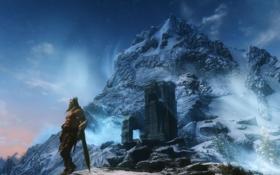 Картинка горы, башня, воин