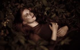 Обои листья, девушка, отдых, боке, веснушки