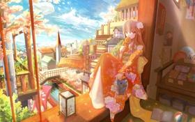 Картинка город, настроение, окно, фонарик, леденец, кимоно, аниме. девочка