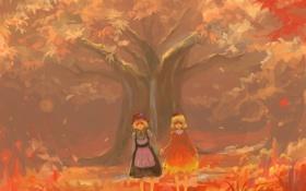 Обои листья, девушки, дерево, шляпа, арт, бант, touhou