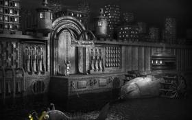 Картинка город, черный, робот, дома, рыба, железный