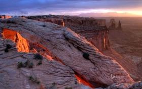 Картинка небо, закат, горы, скалы, каньон, Юта, США