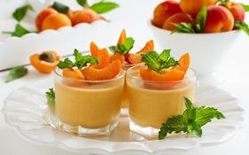 Обои десерт, листики, абрикосы