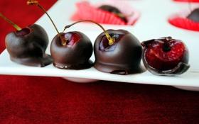 Обои вишня, шоколад, десерт, вкусно, вишня в шоколаде