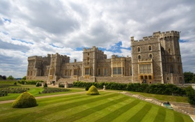 Обои замок, газон, castle, старинный, лужайка, дворец