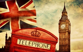 Обои England, Big Ben, british flag, Лондон, Англия, London, telephone