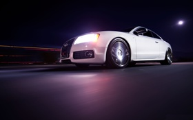 Обои ночь, Audi, ауди, скорость, белая, white