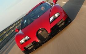 Обои красный, Roadster, автомобиль, Bugatti Veyron, гиперкар, Grand Sport, Vitesse