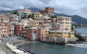 Картинка море, тучи, краски, дома, лодки, Италия, Генуя